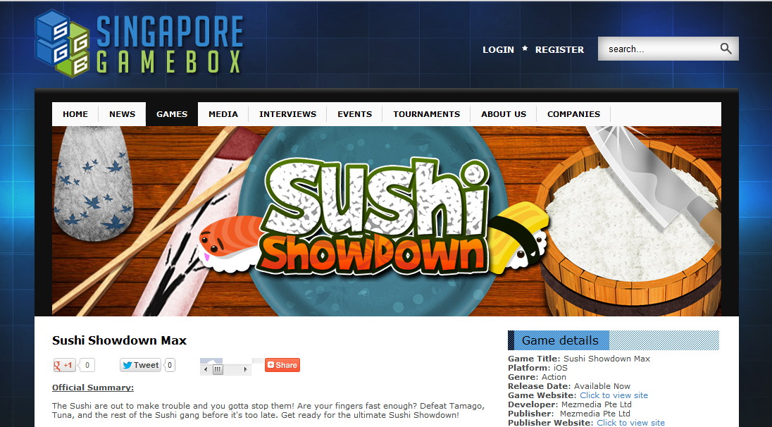 Singapore Gamebox features Sushi Showdown MAX
