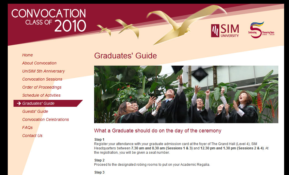 Microsite for UniSIM Convocation 2010